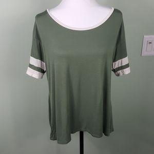 Charlotte Russe Pink Baseball Sleeve T-Shirt XL